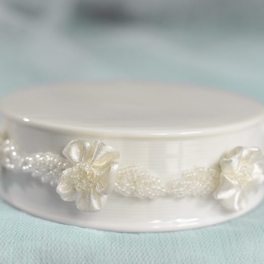 Beaded Ribbon Flower Trim Porcelain Base