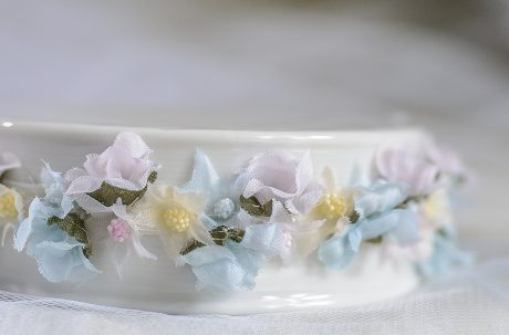 Flowery Rainbow Trim Porcelain Base