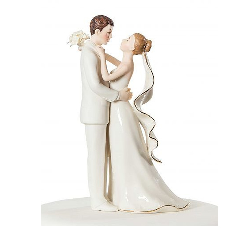 porcelain wedding couple holding each other