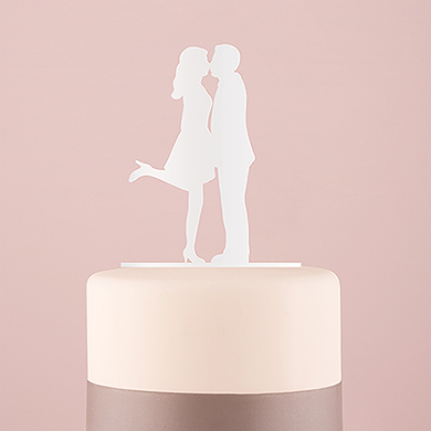 A Kiss Silhouette Acrylic Cake Topper - White