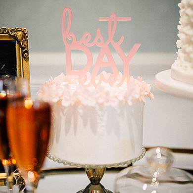 Best Day Ever Acrylic Cake Topper - Dark Pink