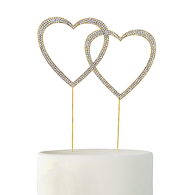 Crystal Rhinestone Double Heart Cake Topper - Gold