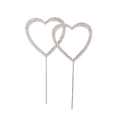 Crystal Rhinestone Double Heart Cake Topper - Silver