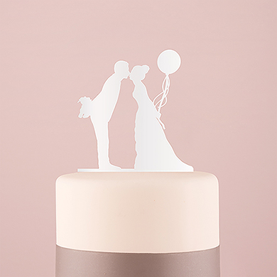 Leaning In Silhouette Acrylic Cake Topper - White