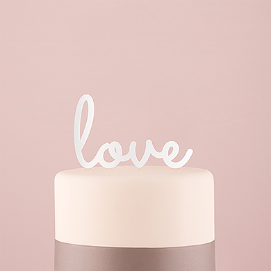 Love Acrylic Cake Topper - White
