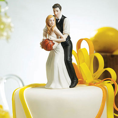 One On One Basketball Caucasian Bride And Groom Cake Topper