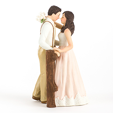 Rustic Couple Porcelain Figurine Wedding Cake Topper - Blush Dress