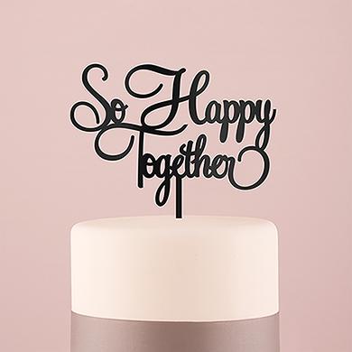 So Happy Acrylic Cake Topper - Black