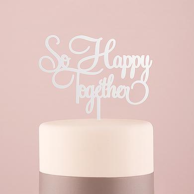 So Happy Acrylic Cake Topper - White