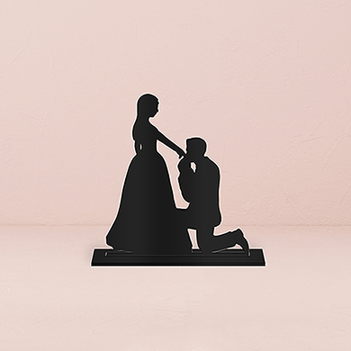 Cinderella Moment Silhouette Acrylic Cake Topper - Black