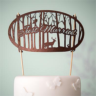 Just Married Woodland Wood Veneer Cake Topper