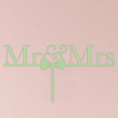 Mr & Mrs Bow Tie Acrylic Cake Topper - Daiquiri Green