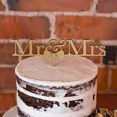 Mr & Mrs Bow Tie Acrylic Cake Topper - Metallic Silver