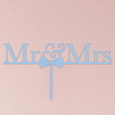 Mr & Mrs Bow Tie Acrylic Cake Topper - Pastel Blue