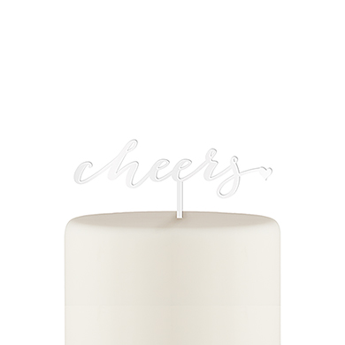 Script Cheers Acrylic Cake Topper - White