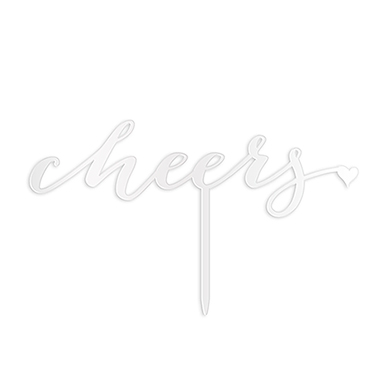 Script Cheers Acrylic Cake Topper - White