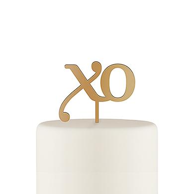 XO Acrylic Cake Topper - Metallic Gold