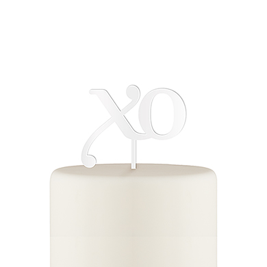 XO Acrylic Cake Topper - White