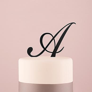 Script Monogram Acrylic Cake Topper - Black