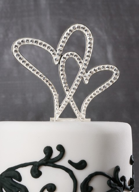 Crystal Hearts Wedding Cake Top Justcaketoppers Com