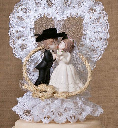 Western Lassoed Couple Cake Top