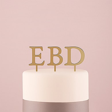 Acrylic Single Initial Cake Topper - Metallic Gold