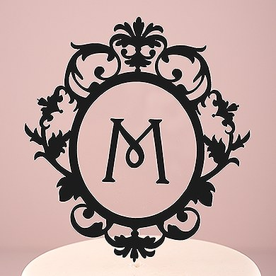 Classic Floating Monogram Black Acrylic Cake Topper