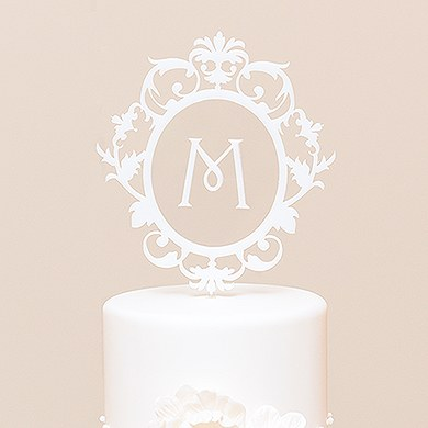 Classic Floating Monogram White Acrylic Cake Topper