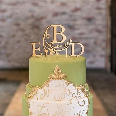 Modern Fairy Tale Monogram Acrylic Cake Topper - Metallic Gold