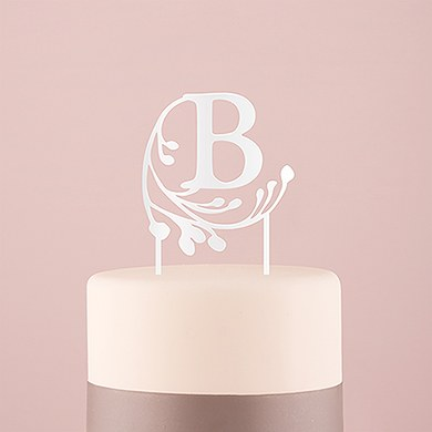 Modern Fairy Tale Monogram Acrylic Cake Topper - White