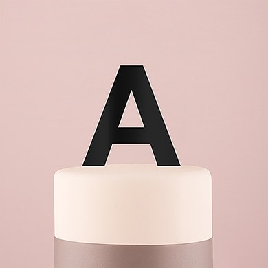 Sans Serif Monogram Acrylic Cake Topper - Black