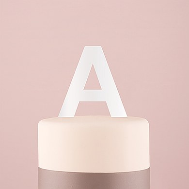 Sans Serif Monogram Acrylic Cake Topper - White