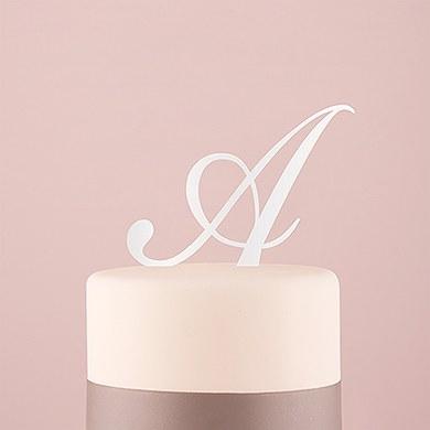 Script Monogram Acrylic Cake Topper White