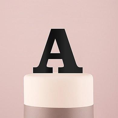 Serif Monogram Acrylic Cake Topper - Black