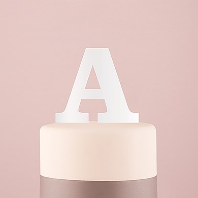 Serif Monogram Acrylic Cake Topper - White