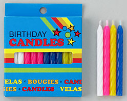 Spiral Candles Yellow Blister Card