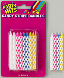 Striped Candles White Blister Card