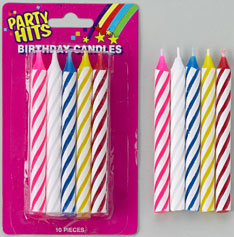 Large Striped Candles White