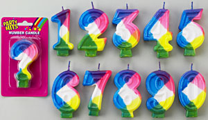 Rainbow Numeral Candle # 6
