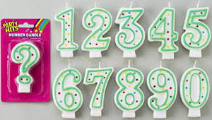 Green Number Candle # 3