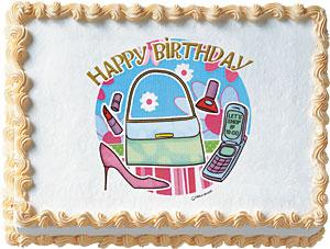Shopping Girl Birthday Edible Image