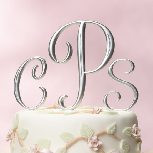 Curved Edge Silver Monogram
